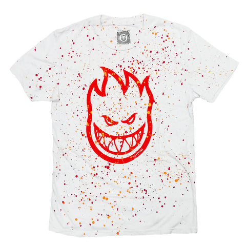 Spitfire Bighead Splatter T-Shirt (White/Red/Orange)
