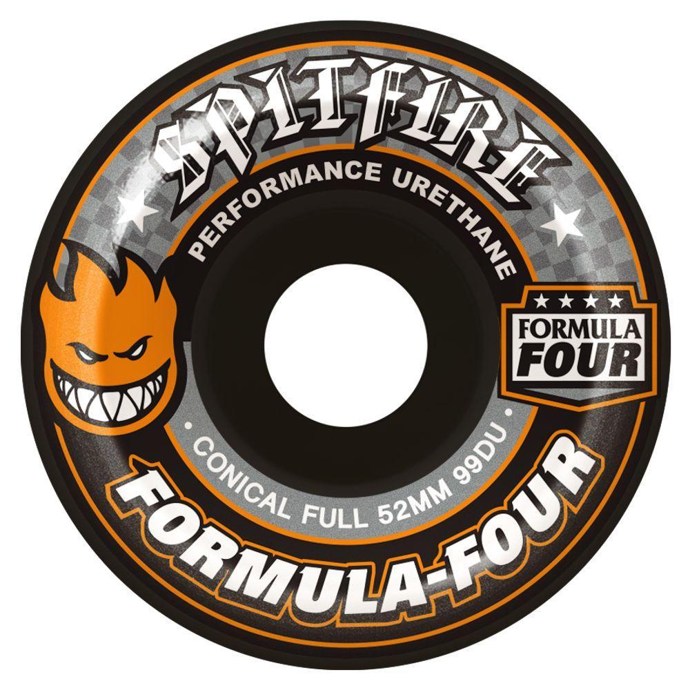 SPITFIRE Formula Four Conical Full Wheels (Black): 54mm / 99A