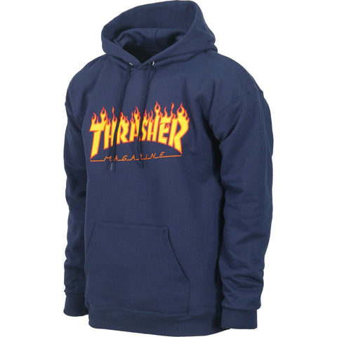 Thrasher Flame Logo Hooded Pullover Sweatshirt (Navy)