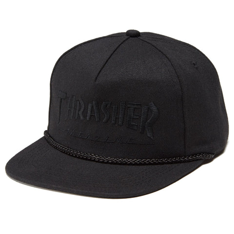 Thrasher Unstructured Rope Hat Black