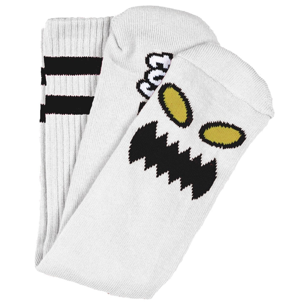 "TOY MACHINE ""Monster Face"" Crew Socks (White)"