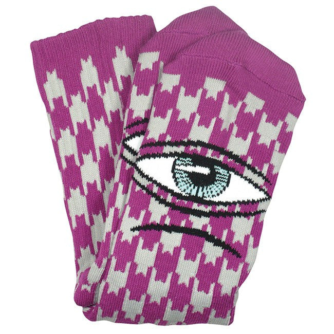 "TOY MACHINE ""Sect"" Houndstooth Crew Socks (Grey/Purple)"