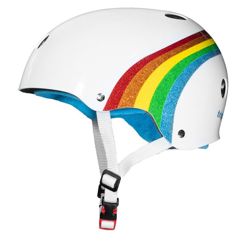 Triple Eight Certified Sweatsaver Helmet (Rainbow Sparkle/White)