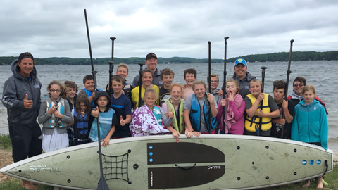 Kwin Morris Ambassador LXV outdoor tahoe sup paddle Michigan education paddleboard tallac in front of the kids