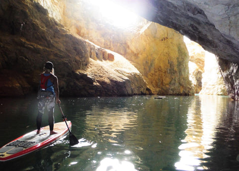 Rachelle Price Ambassador LXV outdoor tahoe bliss sup paddle paddleboard paddling in the caves