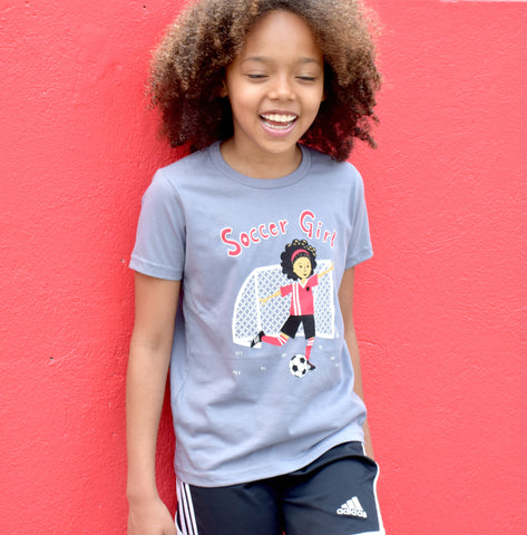 "Girls Short Sleeve Shirt ""Soccer Girl"" by Sunrise Girl"