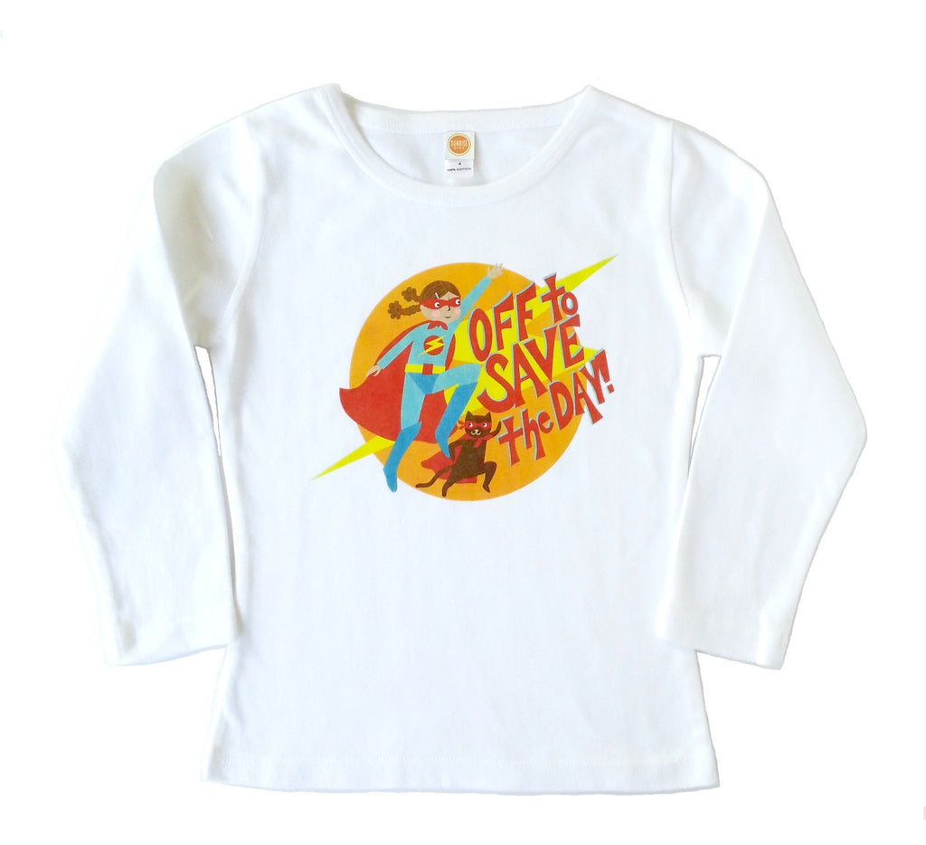 "Girls Long Sleeve Shirt ""Super Girl"" by Sunrise Girl"