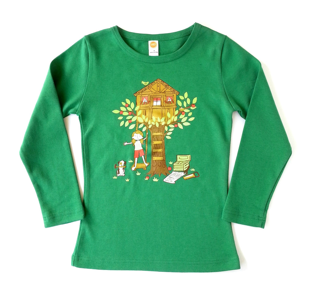 "Girls Long Sleeve Shirt ""Treehouse"" by Sunrise Girl"