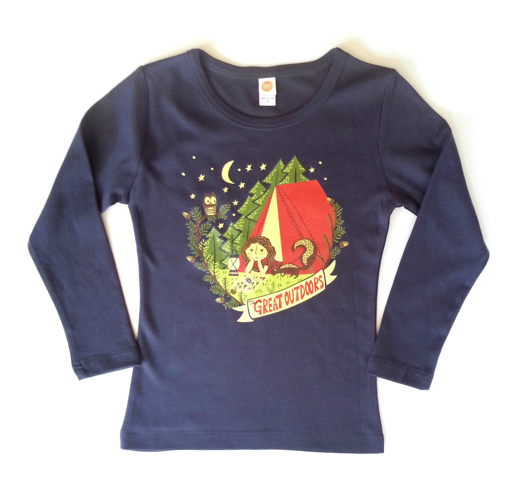 "Girls Long Sleeve Shirt ""The Great Outdoors"" by Sunrise Girl"