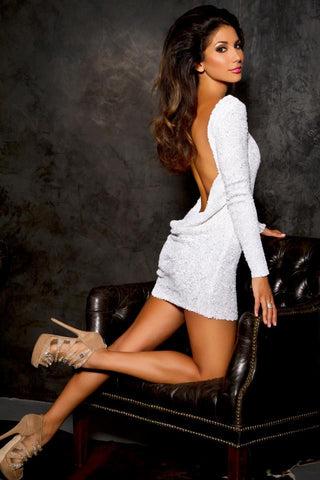 Leiluna Collection, White backless sequin dress