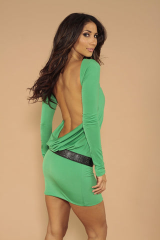 Green long sleeved backless dress