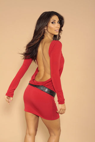 Red backless dress.