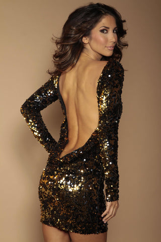 Classic backless flip sequin dress  - Black and gold