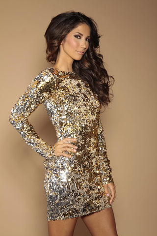 Classic backless flip sequin dress  - Silver and gold