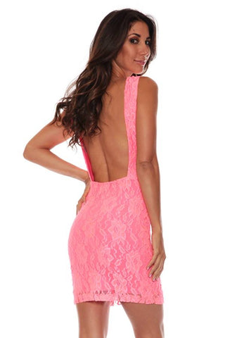 Coral Lace Backless dress