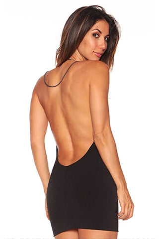 Black Backless chain dress