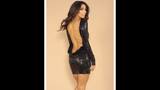 Leiluna Collection backless dress, Black sequin