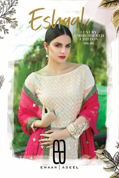 Eshaal Luxury Embroidered Festive Eid Chiffon Collection by Emaan Adeel