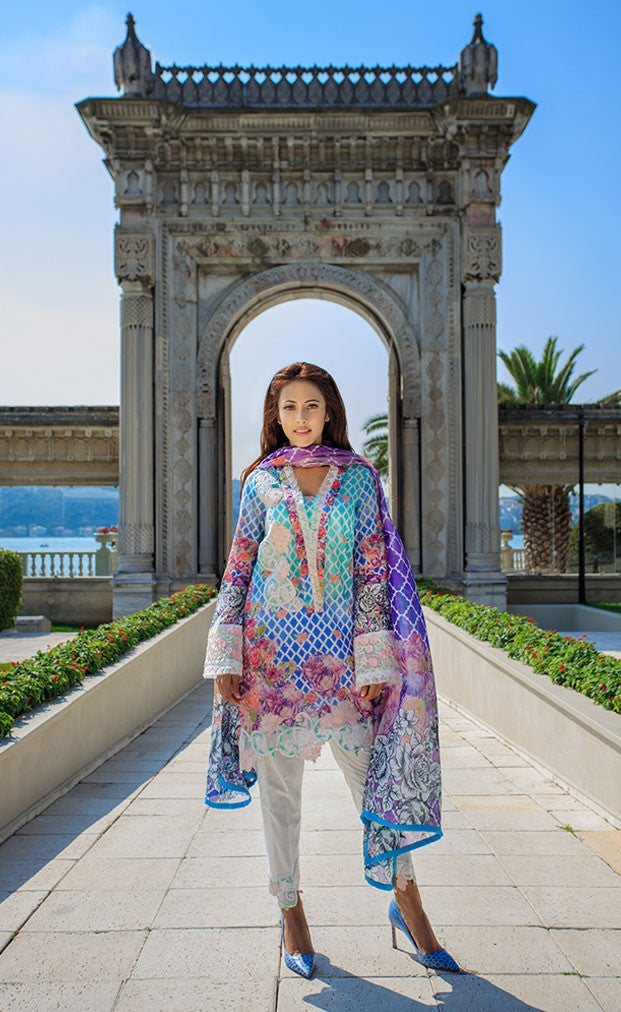 Farah Talib Aziz - A Mediterranean Dream -  Stained Glass Parfait Aqua - 1A - YourLibaas  - 1
