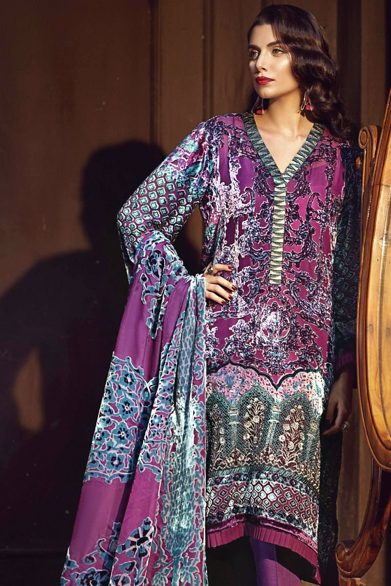 3535059277 18% OFF Sold Out Gul Ahmed Winter 2017 – Purple 3 Pc Silk Velvet BVL-03