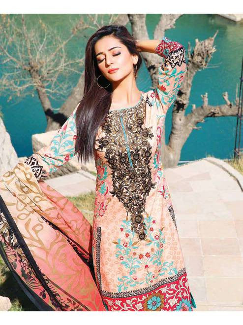 Zanisha Embroidered Lawn Collection 2016 –  01A - YourLibaas  - 1