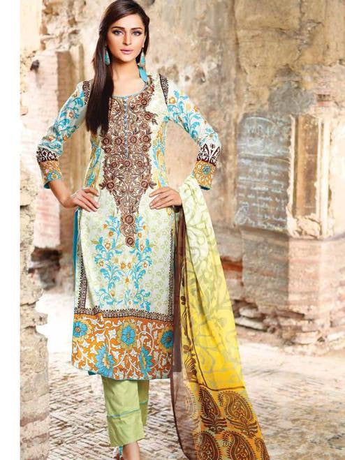 Zanisha Embroidered Lawn Collection 2016 – 01B - YourLibaas  - 1
