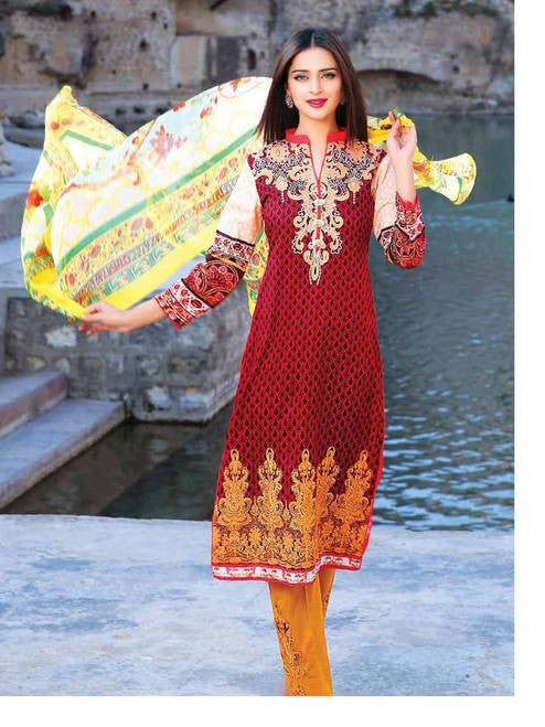 Zanisha Embroidered Lawn Collection 2016 – 02A - YourLibaas  - 1