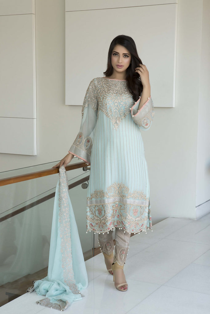 Baroque Luxury Chiffon Embroidered Collection Vol 3 – Aqua Lush - YourLibaas  - 1