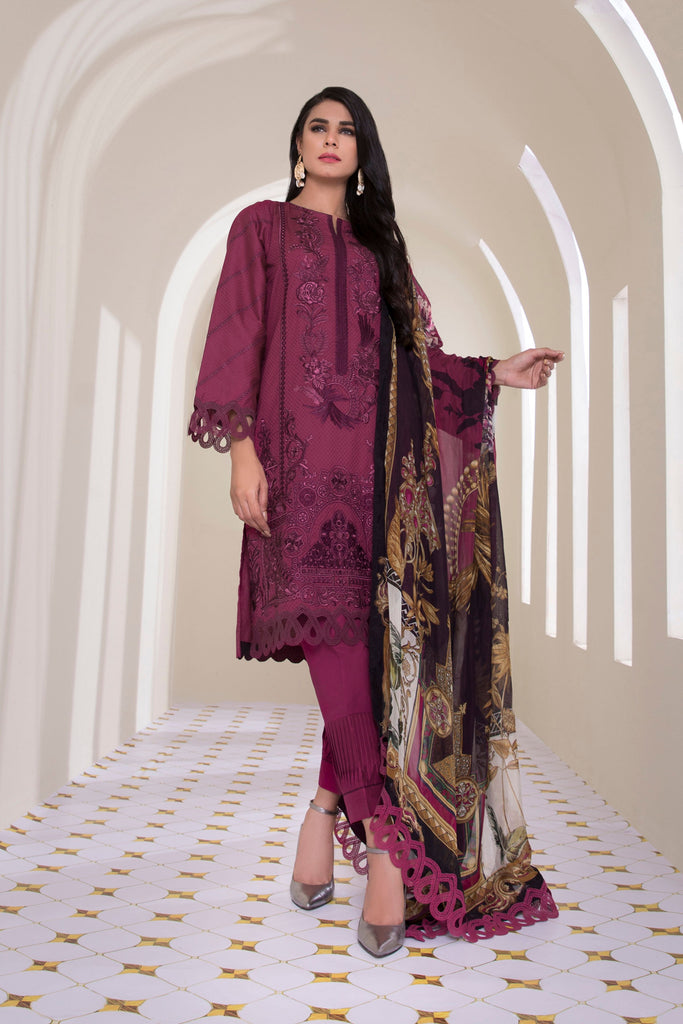 Sapphire Signature - 3 Piece Lawn Collection 2020 – Deep Burgundy