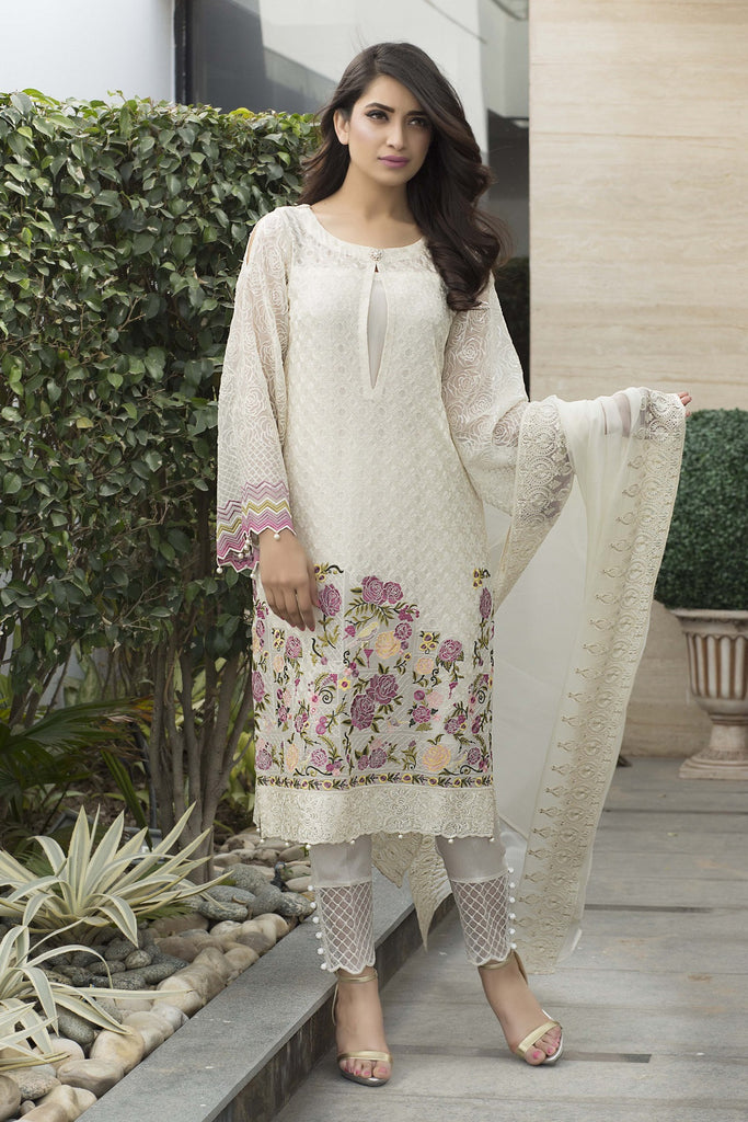 Baroque Luxury Chiffon Embroidered Collection Vol 3 – White Luxe - YourLibaas  - 1