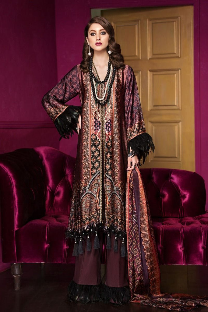 Gul Ahmed Lamis Digital Silk 2018 – Dark Brown 3 Pc Digital Silk DGS-58