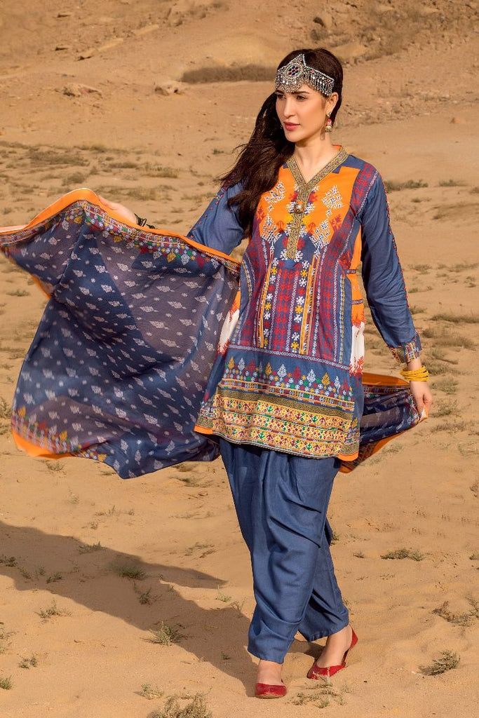Gul Ahmed Gypsy Collection 2018 – Blue 3 Pc Printed GL-13