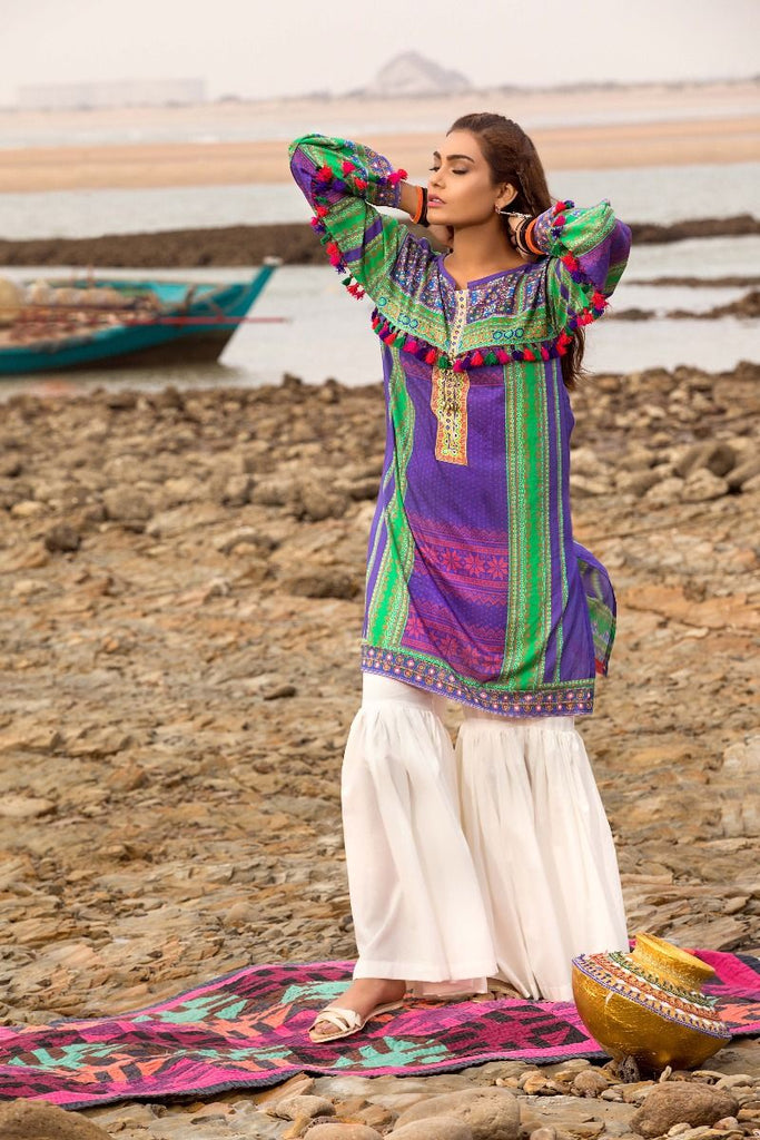 Gul Ahmed Gypsy Collection 2018 – Purple 1 Pc Printed Shirt GS-07