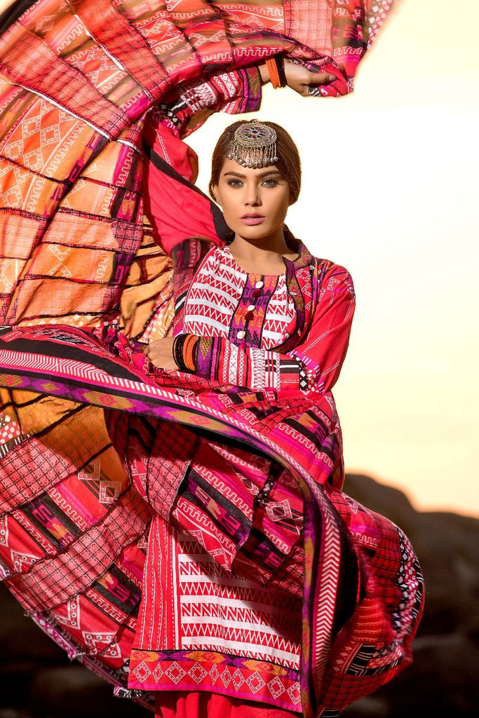 Gul Ahmed Gypsy Collection 2018 – Red 3 Pc Printed GL-10