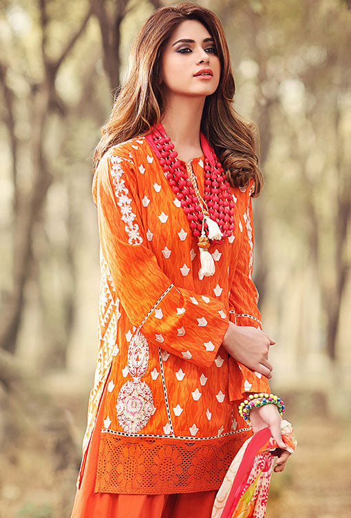 Gul Ahmed Gypsy Folk Lawn Collection - Orange 2 Pc Embroidered Blended Chiffon GT-04