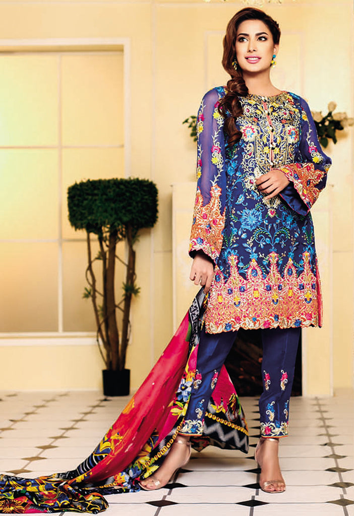 Nomi Ansari Embroidered Chiffon Collection Vol-2 2016 – DN01 - YourLibaas  - 1