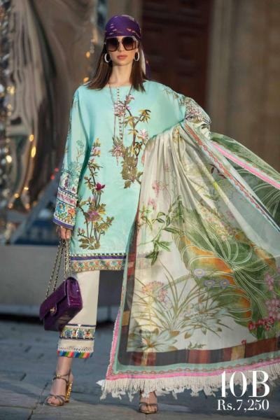Sana Safinaz Luxury Lawn Collection 2019 – 10B - Menta Blu