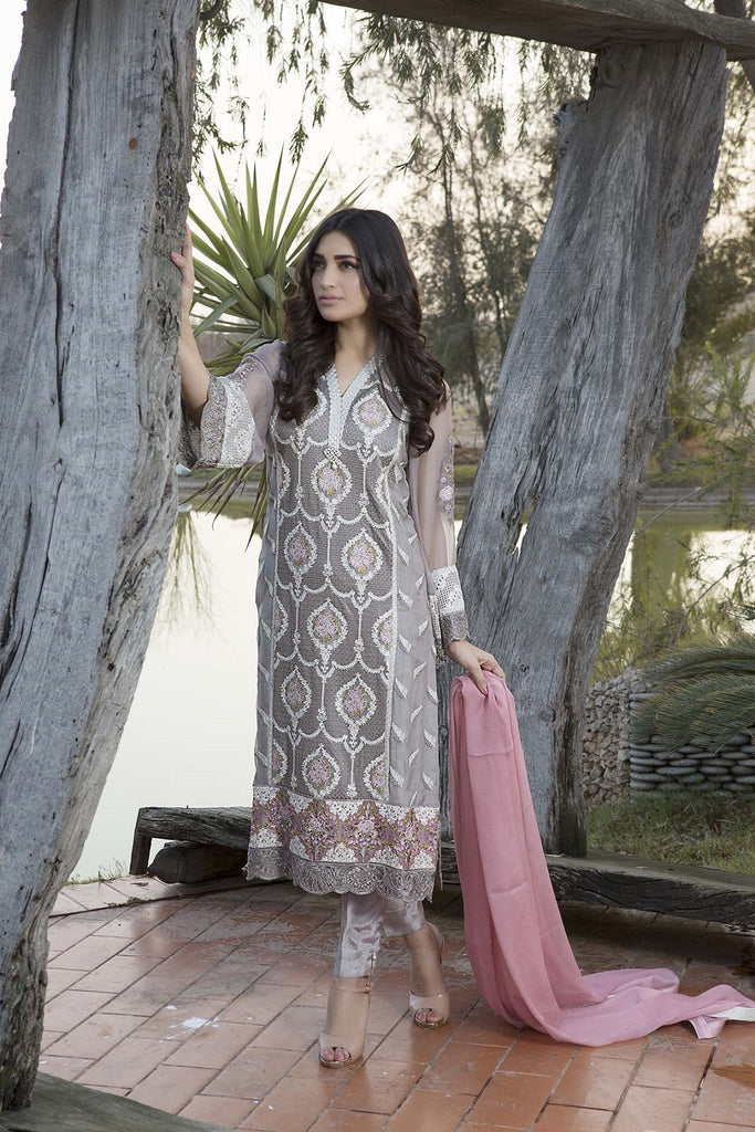 Baroque Luxury Chiffon Embroidered Collection Vol 3 – Ecstatic Grey - YourLibaas  - 1
