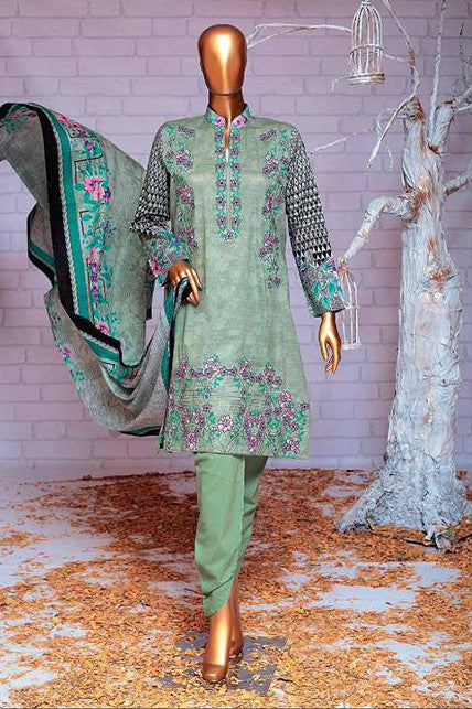 HZ Textiles Premium Embroidered Lawn Collection Vol-2 – Design 114 Greyish Green