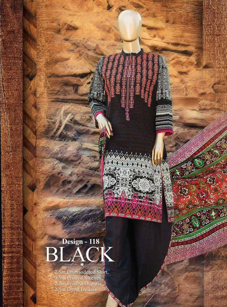 HZ Textiles Premium Embroidered Lawn Collection Vol-1 – Design 118 Black