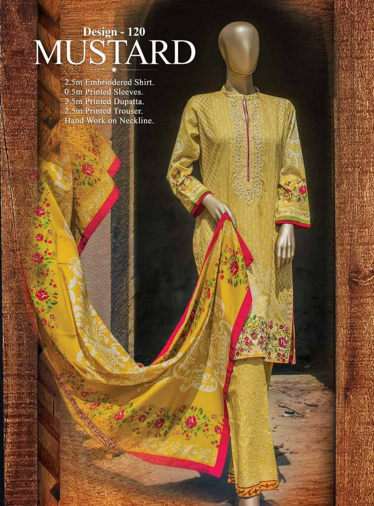 HZ Textiles Premium Embroidered Lawn Collection Vol-1 – Design 120 Mustard