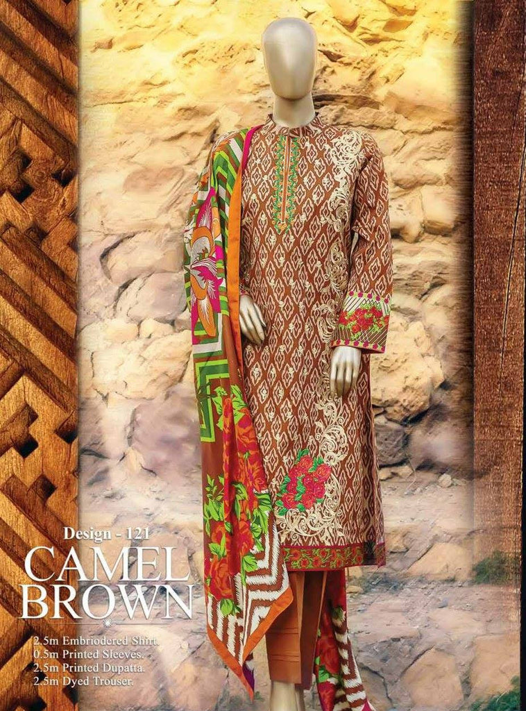 HZ Textiles Premium Embroidered Lawn Collection Vol-1 – Design 121 Camel Brown