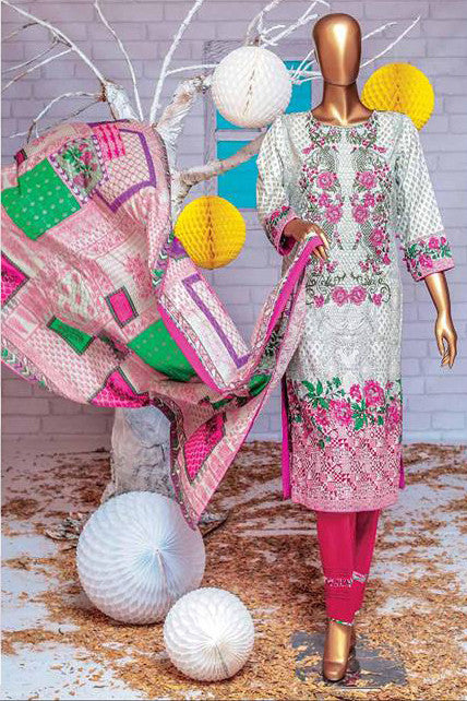 HZ Textiles Premium Embroidered Lawn Collection Vol-2 – Design 123 Maroon