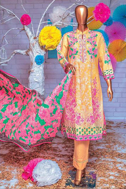 HZ Textiles Premium Embroidered Lawn Collection Vol-2 – Design 125 Golden