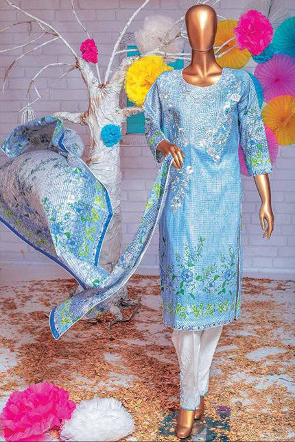 HZ Textiles Premium Embroidered Lawn Collection Vol-2 – Design 126 Sky