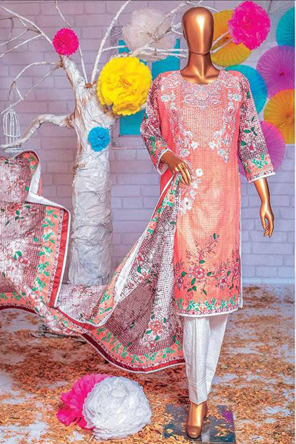 HZ Textiles Premium Embroidered Lawn Collection Vol-2 – Design 126 Peach