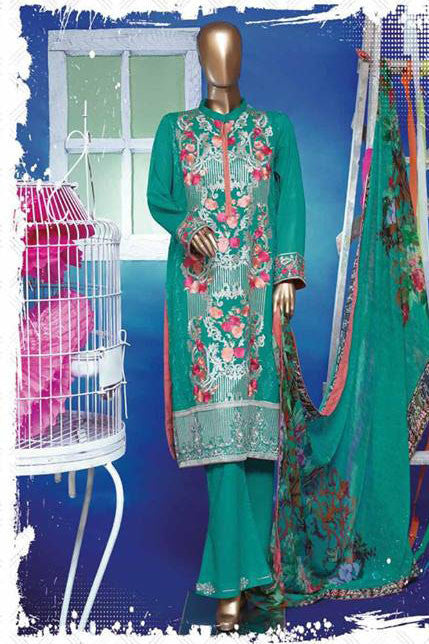 HZ Textiles Regalia Swiss Embroidered Festive Eid Collection – Design 12  Sea Green