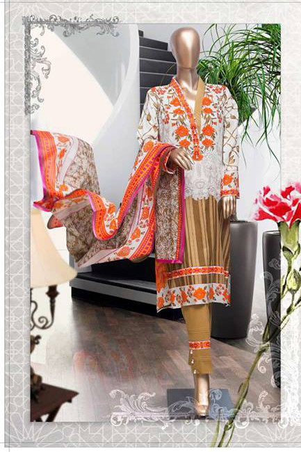 HZ Textiles Diamond Classic Lawn Collection Vol-2 – Design 12 Brown