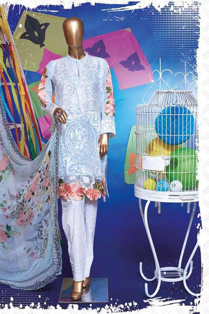 HZ Textiles Regalia Swiss Embroidered Festive Eid Collection – Design 14  Sky