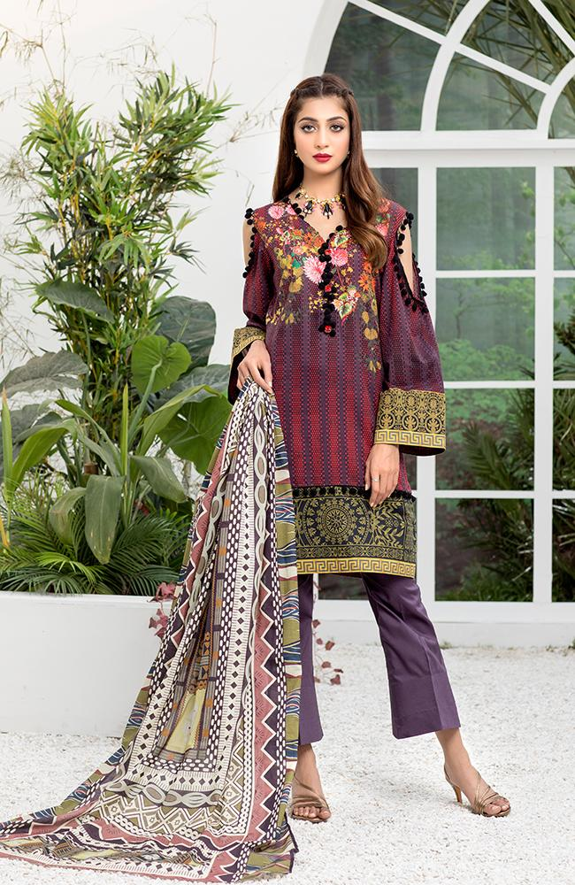 Al Zohaib Colors Digital Printed Lawn 2020 – Design 15A